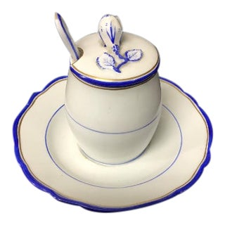 Vintage Meissen Porcelain Honey Pot With Attached Saucer For Sale