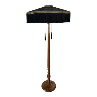 Antique Walnut Base Floor Lamp Pleated Black & Pink Silk Shade W/ Fringe Rewired For Sale