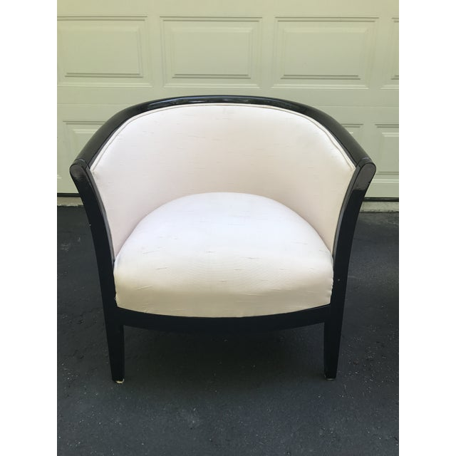 Blush Club Chairs With Black Lacquer Frame - Ward Bennett Style - a Pair - Image 3 of 10