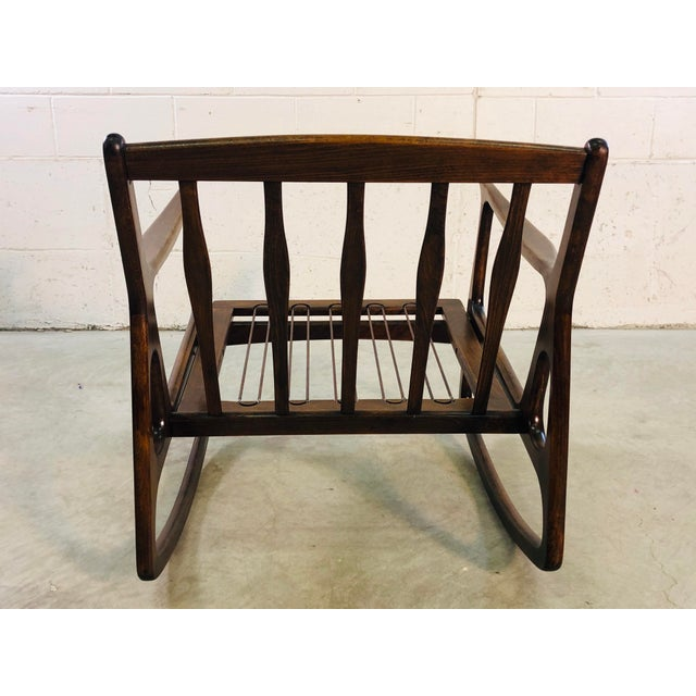 1960s Vintage Italian Beech Wood Rocking Chair For Sale - Image 5 of 13