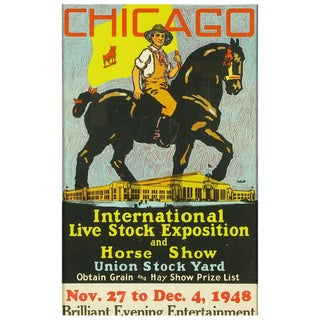 Colorful 1948 Livestock Exhibition Poster By Norman Tolson For Sale