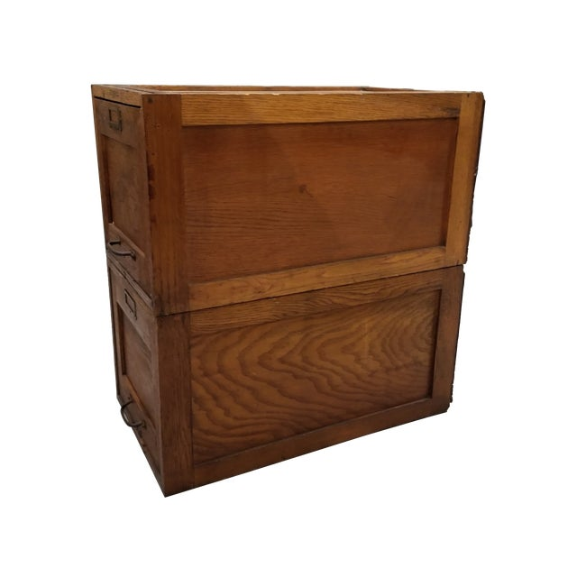 American Vintage Wood Stacking File Drawers Cabinet - a Pair For Sale - Image 3 of 6