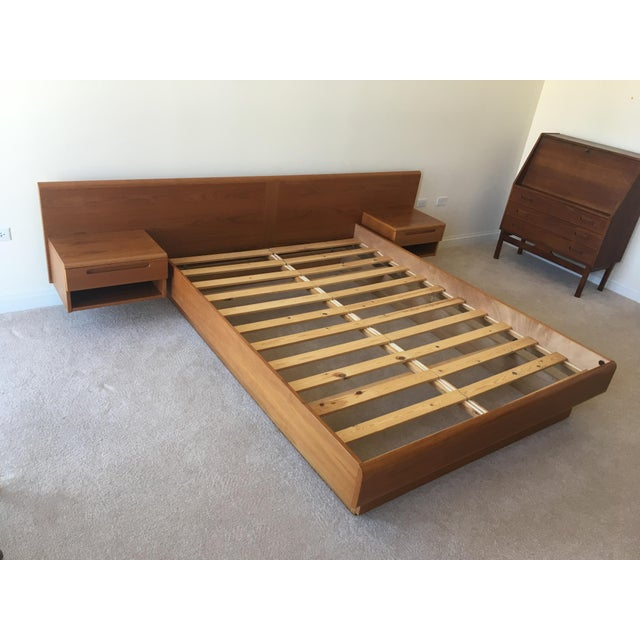 Danish Modern Teak Queen Platform Bed With Nightstands - Image 7 of 7