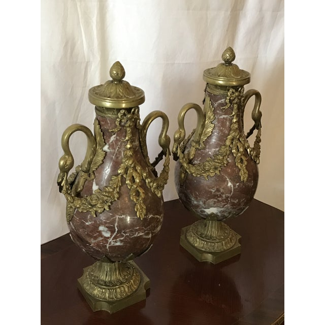 Marble and Bronze Gilt Urns with Bronze Mounts - a Pair For Sale In Raleigh - Image 6 of 13