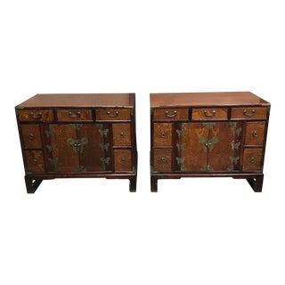Vintage South Korean Side Table Chests - a Pair For Sale