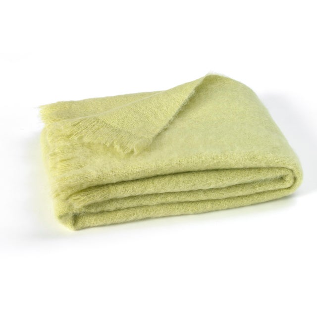 Traditional Honeydew Brushed Mohair Throw For Sale - Image 3 of 3