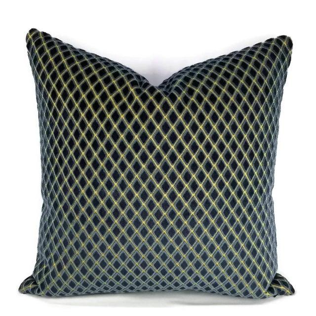 Navy Blue Diamond Cut Velvet Pillow Cover For Sale - Image 4 of 4