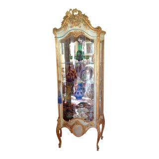 1900s Louis XVI Gold Leaf Vitrine For Sale