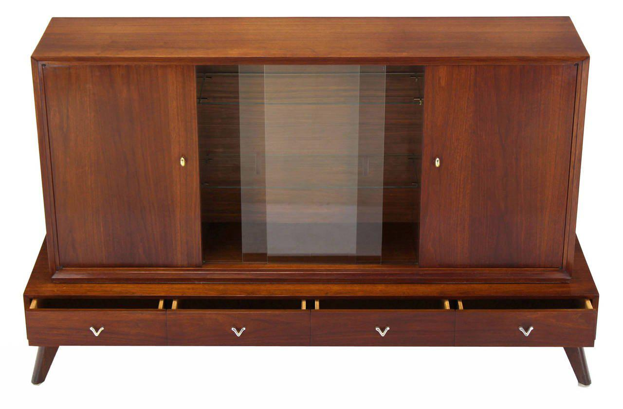 Beau Early 20th Century Mid Century Modern Credenza Or Low China Cabinet For  Sale   Image