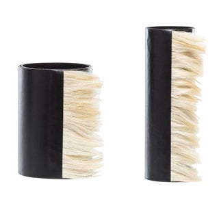 Black Leather Vases With Horse Hair - a Pair , Round Shaped, Decorative Home Decor, Glass Inserted, Modern Look For Sale