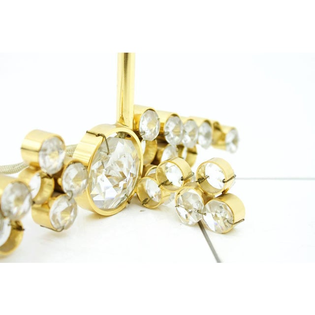 Mid-Century Modern Palwa Table Lamp With Crystal Glass and Gilded Brass Germany, 1960s For Sale - Image 3 of 8
