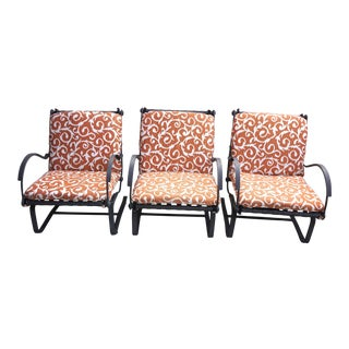 Ow Lee Spring Base Iron Outdoor Lounge Chairs-Set of 3 For Sale