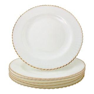 Mid-20th Century White Milk Glass & 22-Karat Gold Rim Dinner Plates - Set of 6