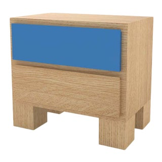 Contemporary 101 Bedside in Oak and Blue by Orphan Work, 2020 For Sale