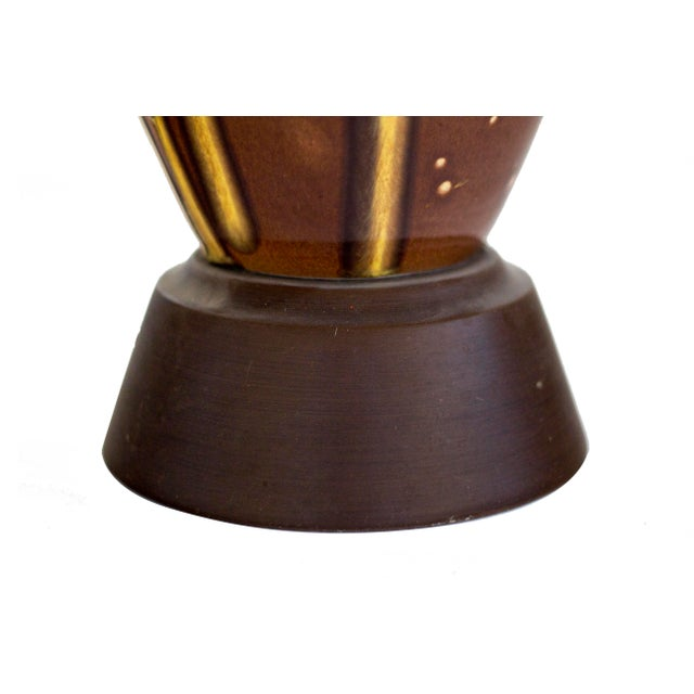 Mid-Century Modern Brown Ceramic Drip Glaze Table Lamp For Sale - Image 3 of 7