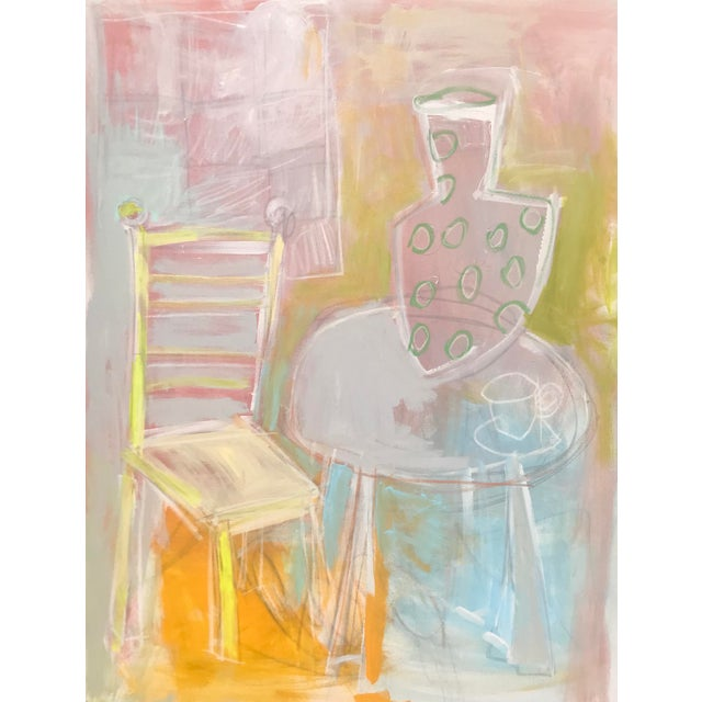 """Sarah Trundle Abstract Still Life """"A Seat at the Table"""" Painting For Sale"""