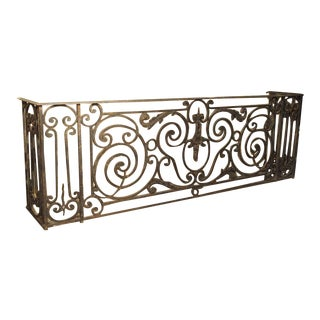 Antique Louis XV Style Wrought Iron Balcony Gate/Console For Sale