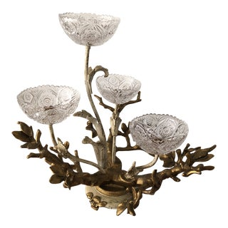 Vintage French Brass and Crystal Centerpiece
