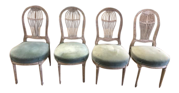 Early 20th Century Antique French Maison Jensen Balloon Chairs  Set Of 4
