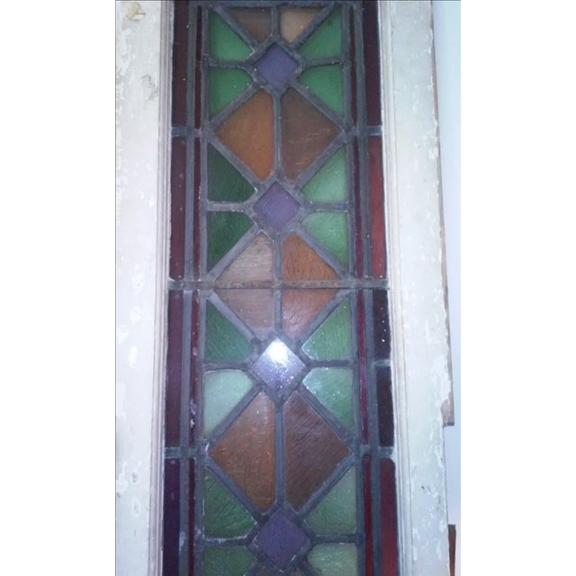 Antique Vintage Art Deco Stained Glass Window - Image 8 of 8