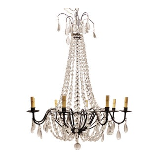 Vintage Wrought Iron Currey & Company 9876 Versailles 8 Light Crystal Chandelier For Sale