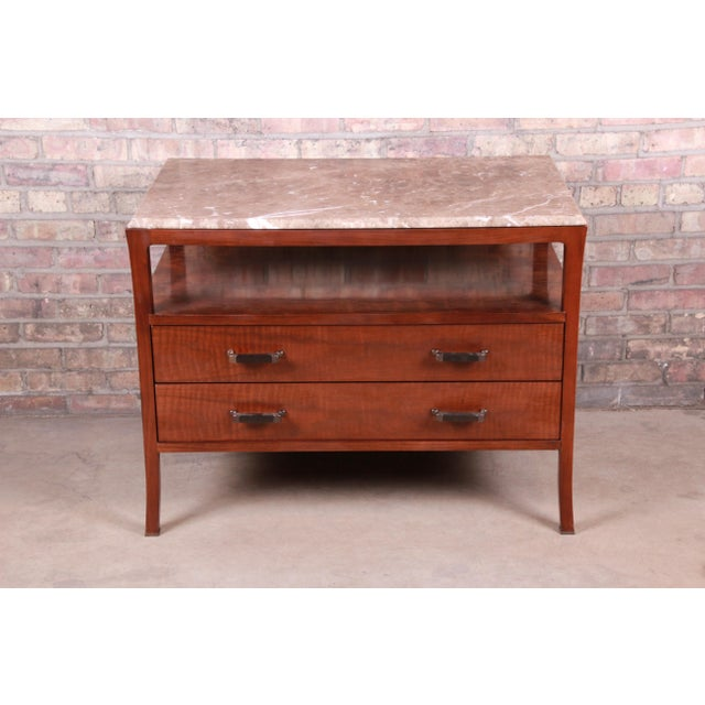 Baker Furniture Modern Mahogany Marble Top Buffet Server For Sale - Image 13 of 13