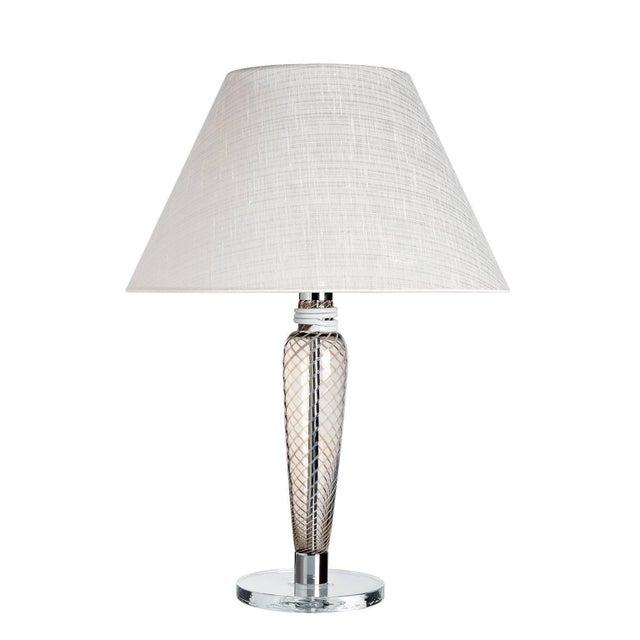 Contemporary Bricola Carlo Moretti Contemporary Mouth Blown Murano Grey Glass Table Lamp For Sale - Image 3 of 3