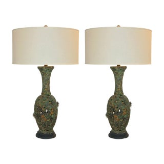 Vintage Metal Pierced Brutalist Table Lamps For Sale