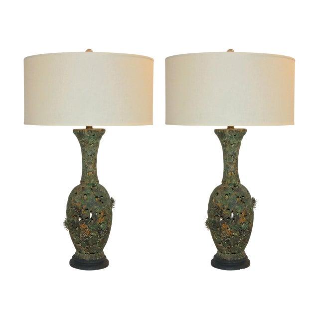Vintage Metal Pierced Brutalist Table Lamps For Sale