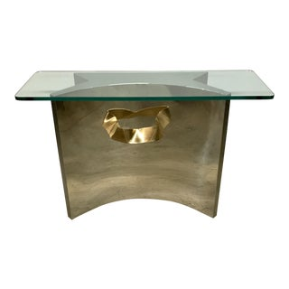 Contemporary Chrome & Brass Sculptural Console Table