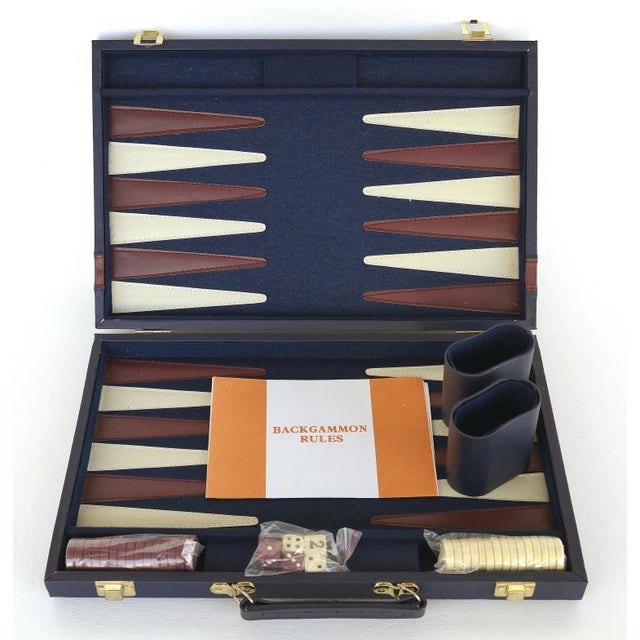 Offered for sale is a Vintage Backgammon Set with a blue Leatherette Travel Case. The set is in very, very good condition....