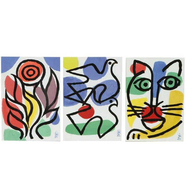 Set of Three Post Modern Celestino Piatti Ceramic Art Tiles For Sale - Image 10 of 10