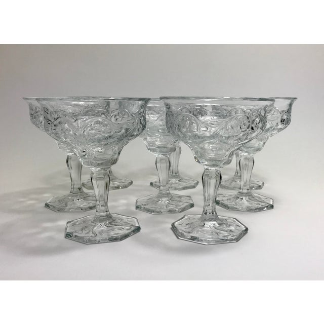Glass Art Nouveau Rock Crystal Clear Coupe Champagne Glasses by McKee - Set of 8 For Sale - Image 7 of 7
