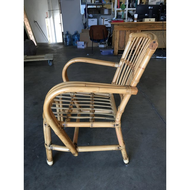 Wicker 3-Strand Bentwood Rattan Armchair With Stick Rattan Back For Sale - Image 7 of 10
