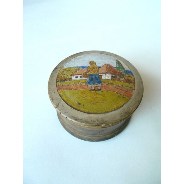 Sugar Container With Painted Pastoral Scene - Image 2 of 4