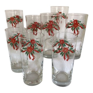 Vintage Fairfield Red Ribbon Poinsettia & Greenery 14 Ounce Glasses - Set of 8