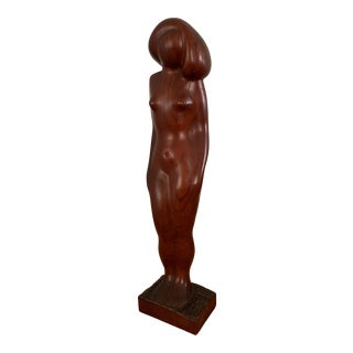 Vintage Mid-Century Carved Wood Nude Sculpture For Sale