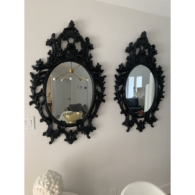 Rococo Rococo Black Lacquered Oval Mirrors - a Pair For Sale - Image 3 of 13