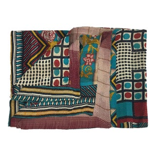Boxes and Bars Vintage Kantha Quilt For Sale