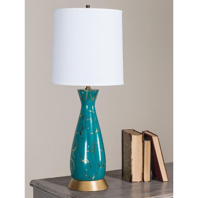 Contemporary Vintage American Atomic Age Glazed Table Lamp circa 1950 For Sale - Image 3 of 7