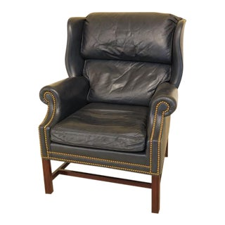 Hancock Blue Leather Chippendale Wing Chair For Sale