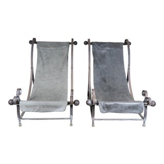 1930s Vintage Industrial Sling Style Lounge Chairs- a Pair For Sale