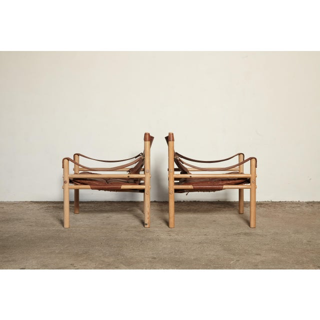 Animal Skin Pair of Arne Norell Sirocco Safari Chairs, Norell Mobel, Sweden, 1970s For Sale - Image 7 of 13