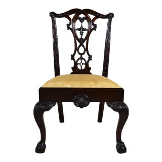 Antique English Mid -19th Century Carved Mahogany Armchair For Sale