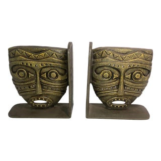 Vintage Cast Iron Tiki Bookends - A Pair For Sale