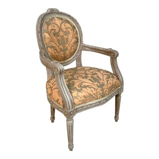 1940s French Louis XVI Style Child's or Doll's Armchair Attributed to Maison Jansen For Sale