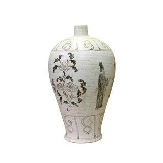 Chinese Oriental Ceramic Cream Brown Graphic Vase