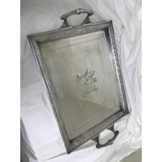 Antique Silverplate Engraved Yosemite 1891 Large Handled Tray For Sale - Image 9 of 9