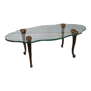 Vintage French Louis XV Style Gilt Wood & Glass Coffee Table For Sale