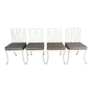 Set of Four Custom Art Deco Revival Outdoor Patio Chairs For Sale